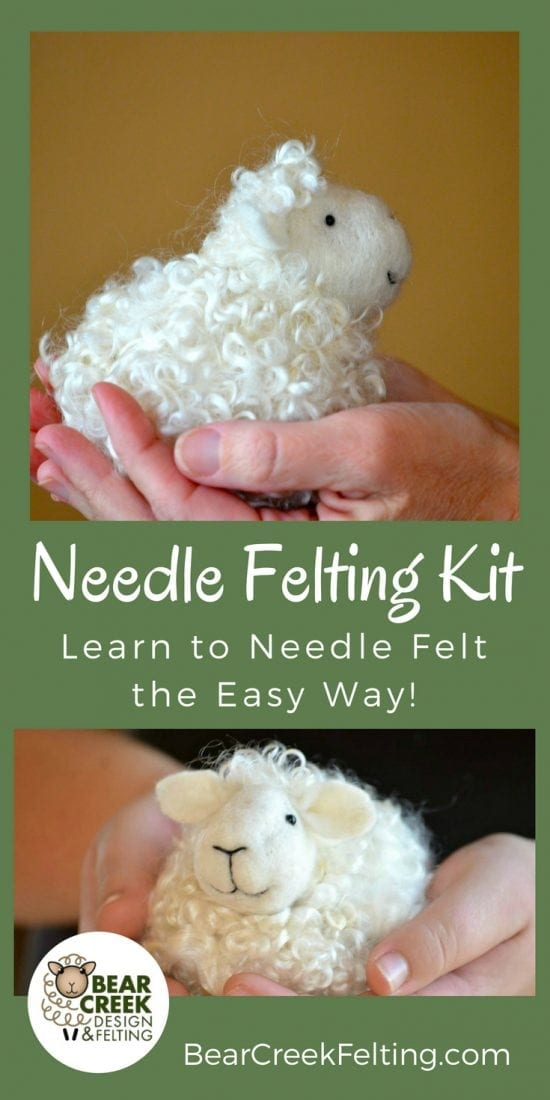 DIY Needle Felting Kit. Learn how to needle felt a sheep. This super easy kit is perfect for beginners and comes with all the supplies you will need to complete this sheep craft plus instructions and pictures of each step.