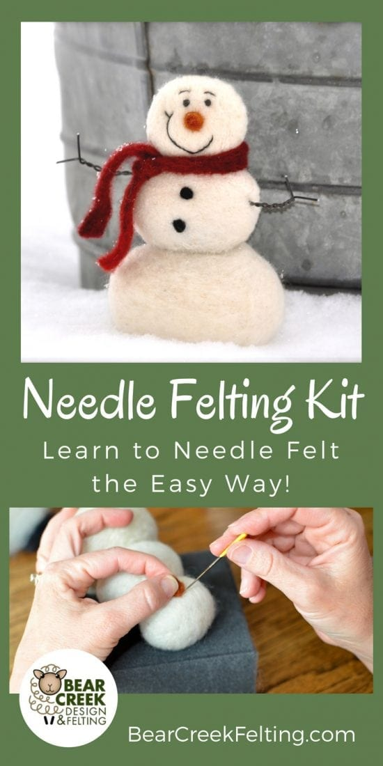 Needle felted Snowman craft kit for beginners. Super Easy kit that will get you started needle felting with everything you need. All the supplies needed to complete this project plus detailed instructions with pictures of each step. Perfect craft to do with your kids!