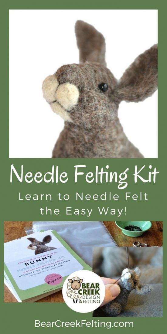 Bunny Needle Felting Kit. If you would like to get started creating needle felted animals a kit from Bear Creek Felting is the perfect place to start. Everything you need is included in the kit to complete the project. Kits take about 3 hours to complete and are frustration free for beginners. Learn to needle felt the easy way!
