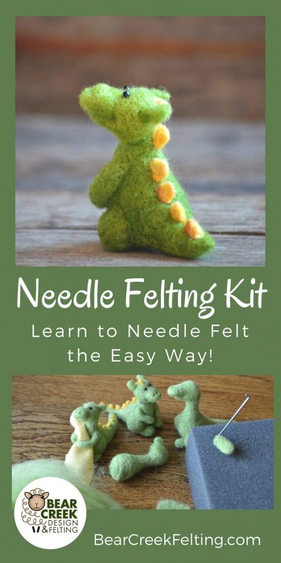 DIY Dragon Needle Felting Kit. Learn how to needle felt with this easy beginner kit.