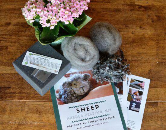 Black sheep needle felting kit
