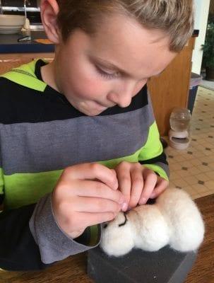 needle felting with kids